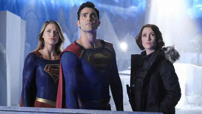 "Tyler Hoechlin, center, will play the Man of Steel in ""Superman & Lois,"" a new CW drama that will launch in January. He's seen here with in an episode of ""Supergirl"" with Melissa Benoist, left, and Chyler Leigh."