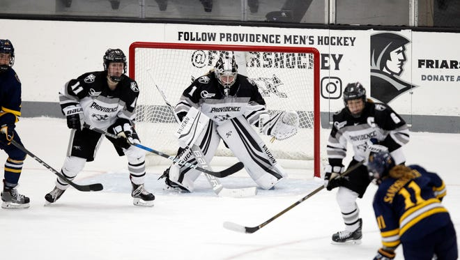Providence College goalie Madison Myers, a Colchester native, helped the Friars blank the UVM women's hockey team on Sunday.