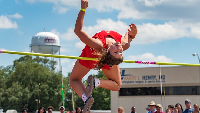 Lafayette Christian's Myca Broussard competes in the pole vault at the Class 2A, Region II track meet Tuesday at the UL Track Complex.