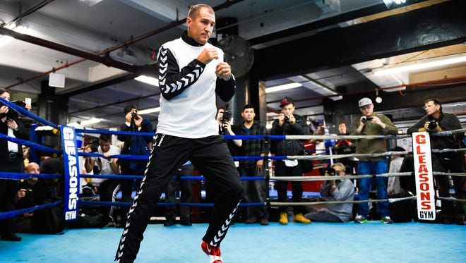 Russian boxer Sergey Kovalev works out during a training session for an upcoming fight against Bernard Hopkins.