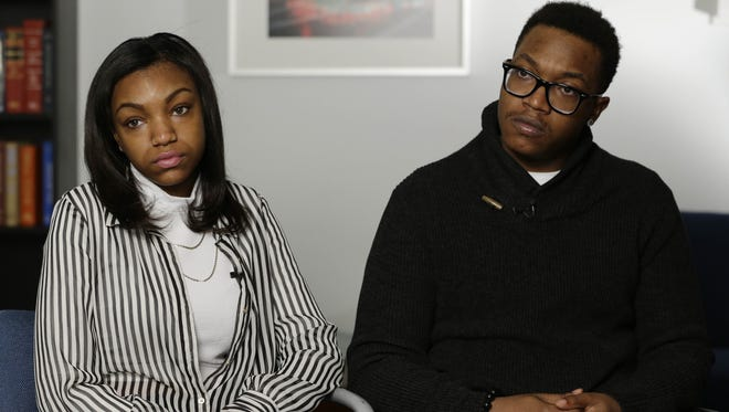 Jamel, right, and Denita McNair, the children of James McNair, are interviewed in New York. The children of the comedian who was killed in the New Jersey Turnpike crash that injured Tracy Morgan, are getting a $10 million settlement from Wal-Mart, court papers show.