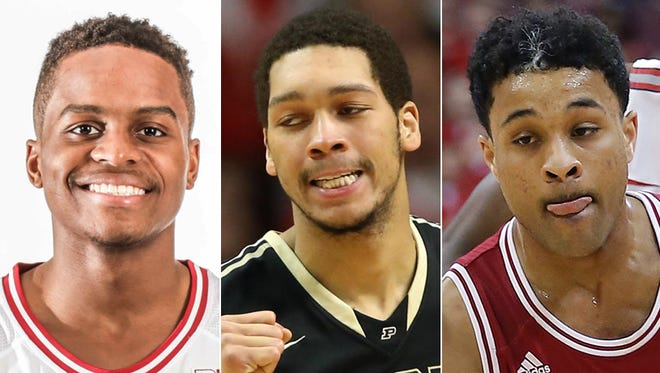 Indiana's Yogi Ferrell (from left), Purdue's A.J. Hammons and IU's James Blackmon Jr. are preseason All-Big Ten selections.