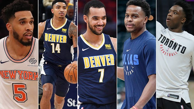 These 5 players with Indiana ties are off to great starts in the 2017-18 NBA season. (From left to right: Courtney Lee, Gary Harris, Trey Lyles, Yogi Ferrell, OG Anunoby).