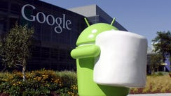 A statue of Android Marshmallow at Google Mountain