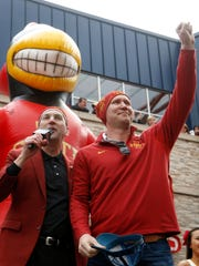 Iowa State Director of Athletics Jamie Pollard, left,
