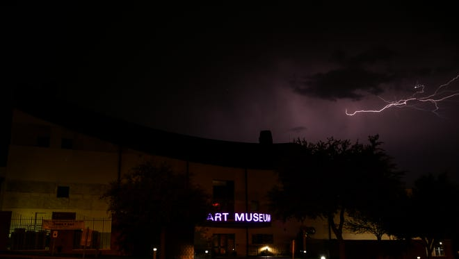 Lightning strikes over the San Angelo Museum of Fine Arts on Tuesday, March 21. A storm Tuesday evening brought little rain, with only 0.04 of an inch recorded at the National Weather Service office near Mathis Field.