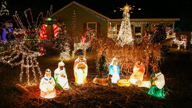 A Christmas light display is seen at 2126 S. Hill St. in San Angelo.