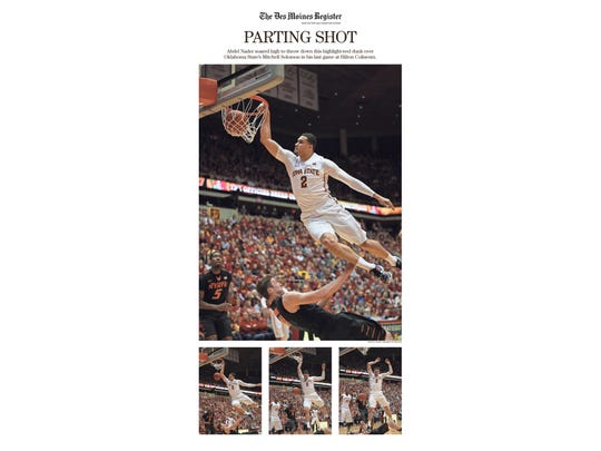 The March 1, 2016, poster page of senior Abdel Nadar's dunk during the senior night game versus Oklahoma State.