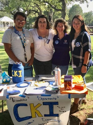 Officers of Hardin-Simmons University's newest service organization, Circle K International, with their faculty advisors who are also members of their sponsor club, the Kiwanis Club of Greater Abilene. From left: Colby Mears, president of CKI; Dr. Jennifer Eames; Dr. Angela Nicolini; and Laura Faz, vice-president of CKI.