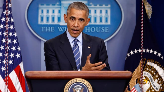 President Obama speaks during a news conference in the briefing room of the White House on Dec. 16, 2016.
