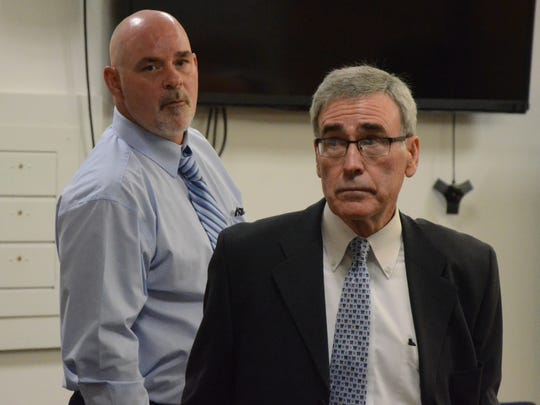 David Hursley, left, and his attorney, J. Thomas Schaeffer during the trial Thursday.