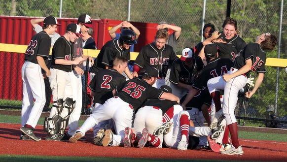 Nyack celebrates after defeating John Jay 3-2 on a
