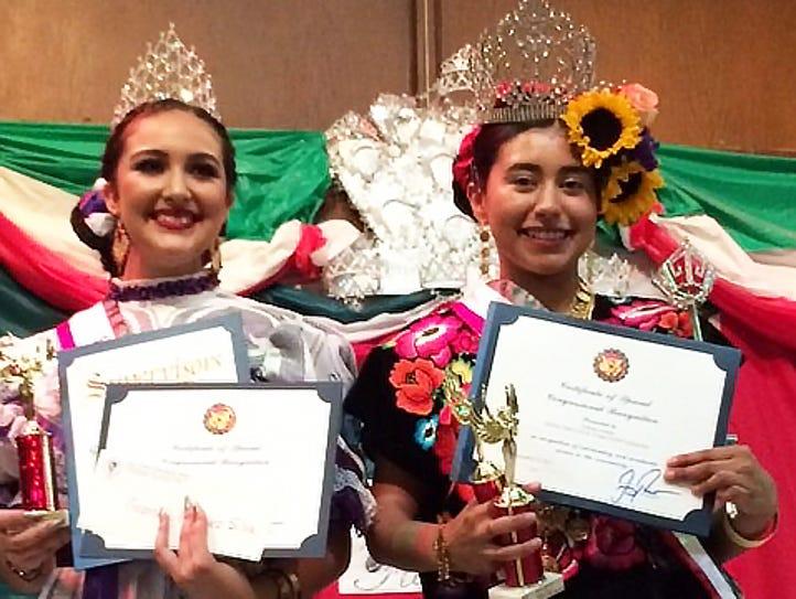 2017 Queen of las fiestas patrias Nahomy Pinedo, right,