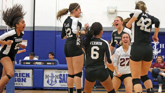 Ossining celebrates their win over Ursuline School during Section 1 girls volleyball Class AA finals at Hendrick Hudson High School in Montrose Nov. 4, 2016.