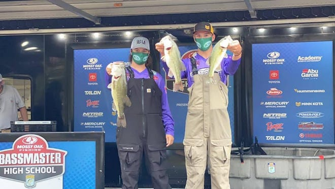 From right, Ottawa's Austin Curtis and Todd Crosley, of the OutCast Bass Club, finished 30th to lead the Kansas delegation last week at the 2019-20 Bassmaster High School National Championship on Kentucky Lake in Paris, Tenn.