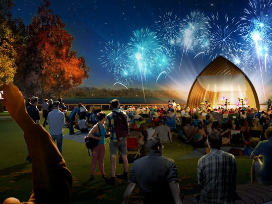 A proposed redesign of the Promenade along the Delawate River in downtown Burlington City features a band shell whose shape is reminiscent of a ship's bow and hull.