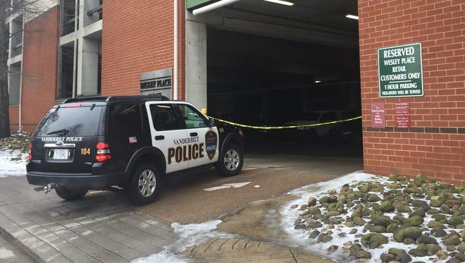 Vanderbilt police are still at the scene of a Saturday night shooting that killed one in a Vanderbilt University parking garage.