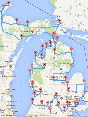 A screen shot of Randy Olson's interactive map of the best route to tackle in Michigan