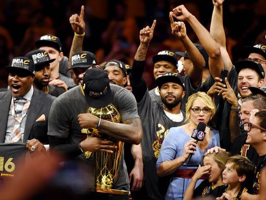 Cleveland Cavaliers forward LeBron James (23) celebrates