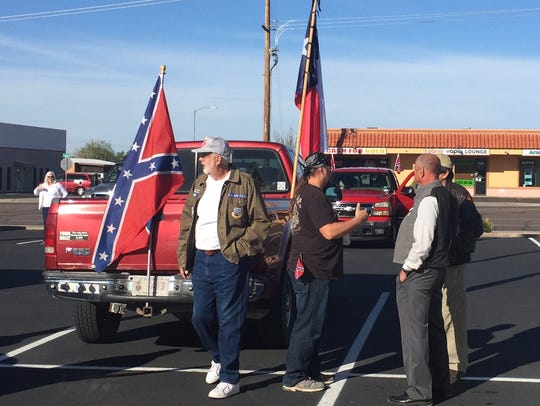 About a dozen people participated in the Confederate