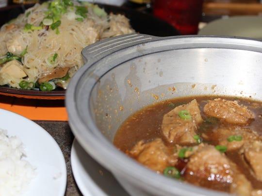 Pork adobo and pancit bihon at Edamame Sushi.