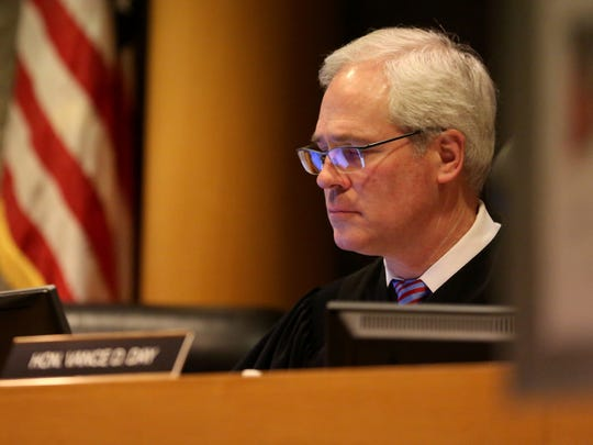 Judge Vance Day oversees arraignments scheduled at the Marion County Court Annex in Salem on Monday, March 14, 2016.