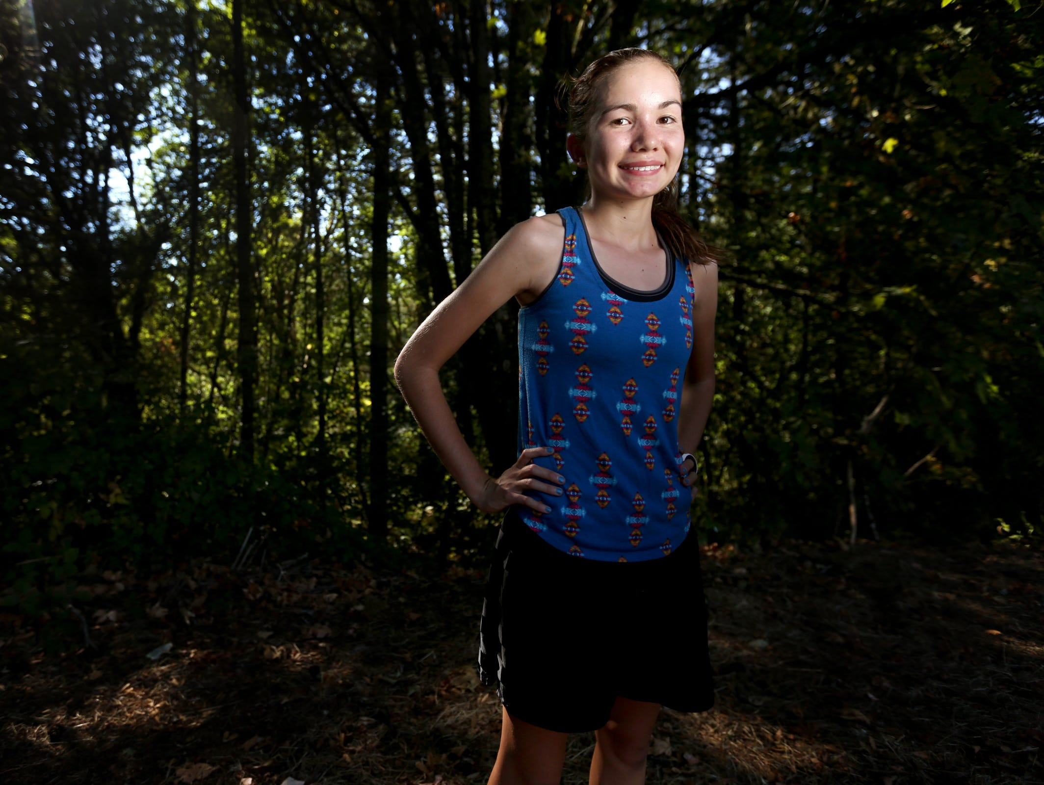 Sophomore Ginger Murnieks, a cross country runner, stands for a portrait at Sprague High School in Salem on Wednesday, Aug. 24, 2016.