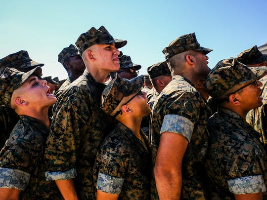 Recruits are lined up before entering the Chow Hall for lunch on Thursday October 20, 2016 at the Marine Corps Recruit Depot in Parris Island, SC.