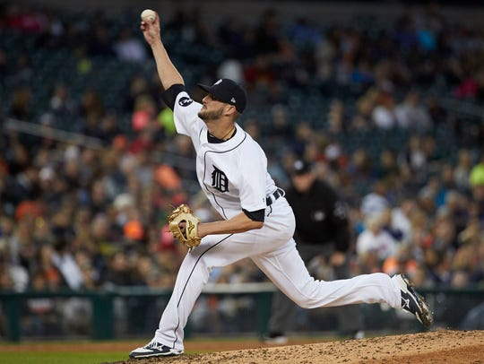 Detroit Tigers pitcher Myles Jaye (65) pitches in the