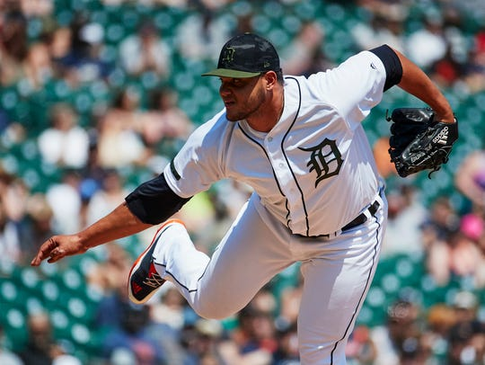 Tigers relief pitcher Joe Jimenez (77) pitches in the