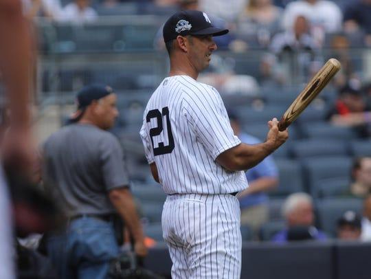 Jorge Posada made his Old-Timers' Day debut at Yankee