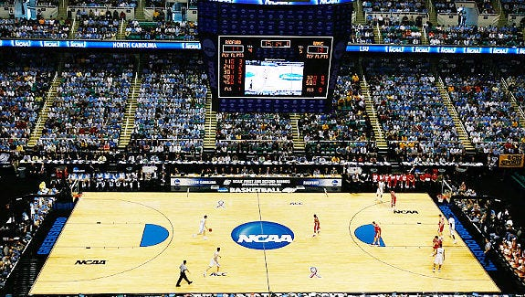 GREENSBORO, NC - MARCH 19:  A general view of the action between the North Carolina Tar Heels and the Radford Highlanders during the first round of the NCAA Division I Men's Basketball Tournament at the Greensboro Coliseum on March 19, 2009 in Greensboro, North Carolina.  (Photo by Kevin C. Cox/Getty Images)   Original Filename: GYI0057006521.jpg