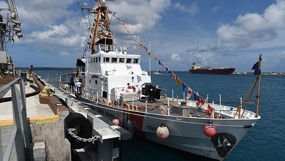 The Coast Guard held a short ceremony and opened its doors to the public to showcase the Cutter Assateague for its 25th anniversary, at Delta Pier in Piti, yesterday.