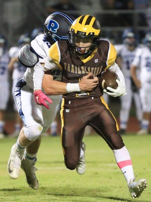 Golden West hosts Redwood during a West Yosemite League High School Football game at Visalia Community Stadium on Sept 5th, 2018.
