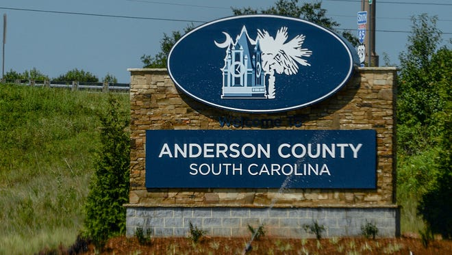 Anderson County, South Carolina welcome sign in Powdersville, seen in the southbound lane of interstate 85.