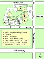 A map of the Simi Valley Civic Center, which Bruce Altman, the city's first city manager who recently died, was instrumental in creating.