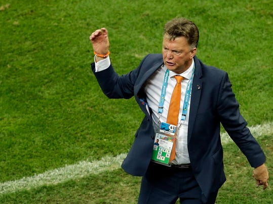 Netherlands' head coach Louis van Gaal gestures during the World Cup third-place soccer match between Brazil and the Netherlands at the Estadio Nacional in Brasilia, Brazil, Saturday, July 12, 2014. (AP Photo/Themba Hadebe)