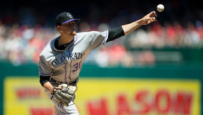 Jul 30, 2017; Washington, DC, USA; Colorado Rockies starting pitcher Kyle Freeland (31) pitches during the first inning at Nationals Park.