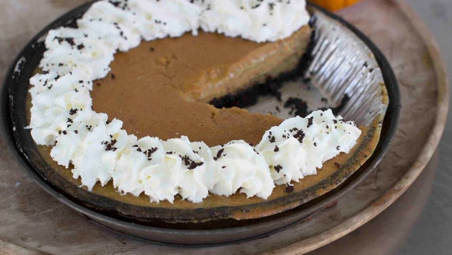 Ultra creamy pumpkin pie in Concord, N.H. The pie has a chocolate crumb pie crust, but the filling will work wonderfully in any crust.