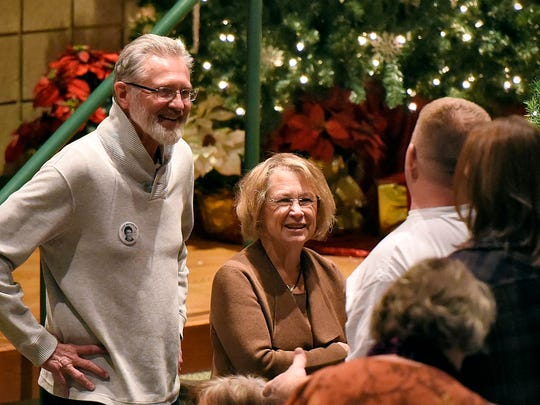 "Jerry and Patty Wetterling talk with people before the start of a meeting on Sunday, Dec. 12 at the Paynesville High School. The meeting was intended for members of the Paynesville community who have been affected by the news that a former Paynesville resident was identified as a ""person of interest"" in the Jacob Wetterling abduction case."
