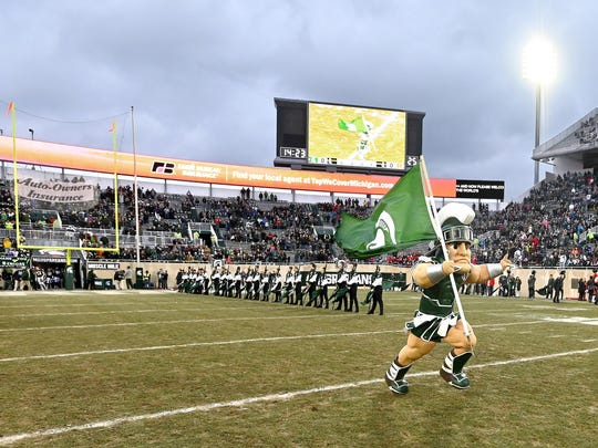 Sparty runs out onto the field before MSU beats Rutgers, 14-10, at Spartan Stadium in East Lansing on Nov 24, 2018.