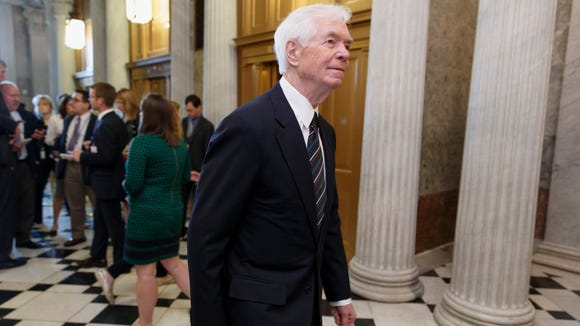 Sen. Thad Cochran, R-Miss., arrives at the Senate chamber for a vote May 14, 2014, on Capitol Hill in Washington. Cochran, 76, in Congress since 1973, was in the re-election battle of his career in the Republican Senate primary. Cochran defeated Chris McDaniel in the GOP primary runoff.