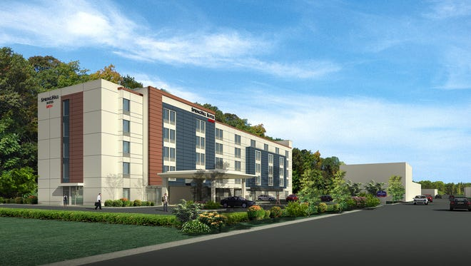 An artist rendering of the proposed Marriott SpringHill Suites hotel at 109-125 Marbledale Road in Tuckahoe.