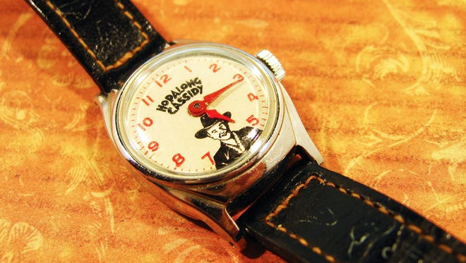 A Hopalong Cassidy wristwatch sold in the late 1950s.