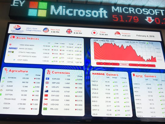 A monitor screen with stock data constantly updates inside the new stock trading room at John L. Grove College of Business on Thursday, Feb. 4, 2016 in Shippensburg, Pa. The students who use this room are part of the Investment Management Program at Shippensburg University where they manage real money from Wisman Fund.