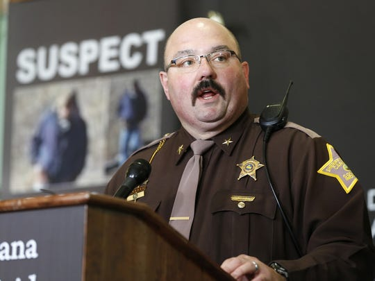 Carroll County Sheriff Tobe Leazenby speaks during a press conference for the latest updates on the investigation of the double homicide of Liberty German and Abigail Williams Thursday, March 9, 2017, at Carroll County Courthouse in Delphi. The two Delphi teens who were hiking the Delphi Historic Trails on February 13, were found dead a day later. Police said there is no new information to release from the investigation.