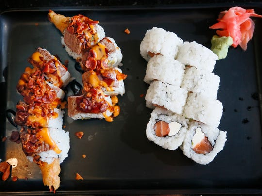The Iowa Surf and Turf roll and the Philly roll from