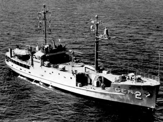 The USS Pueblo, shown underway at sea, was captured late Jan. 22, 1968, by North Korean patrol boats who took it into Wonsan. There were 83 men aboard the vessel. This photo was released Jan. 23, 1968, by the U.S. Department of Defense.