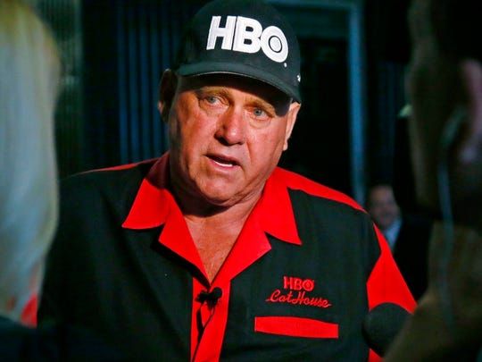 In this June 13, 2016, file photo, Dennis Hof, owner of the Moonlite BunnyRanch, a legal brothel near Carson City, is pictured during an interview in Oklahoma City.