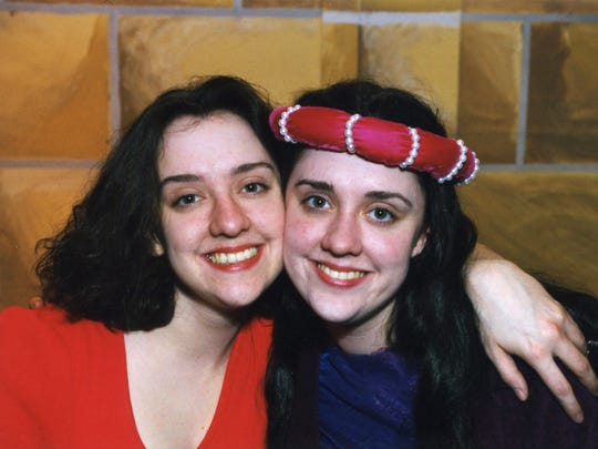 "Kristen Mengelkoch, left, and her twin sister Kelly Mengelkoch appeared together in this 1998 production of ""Joan of Arc"" when they were students at Wichita H.S. East, in Wichita, Kansas. Kristen played the title role, while Kelly played her mother, Isabelle."